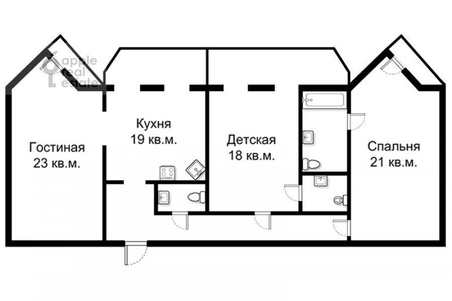 Поэтажный план 3-комнатной квартиры по адресу Наставнический пер. 6