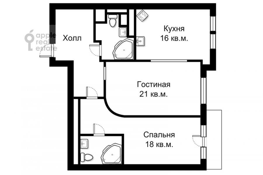 Поэтажный план 2-комнатной квартиры по адресу Крылатская ул. 45к1