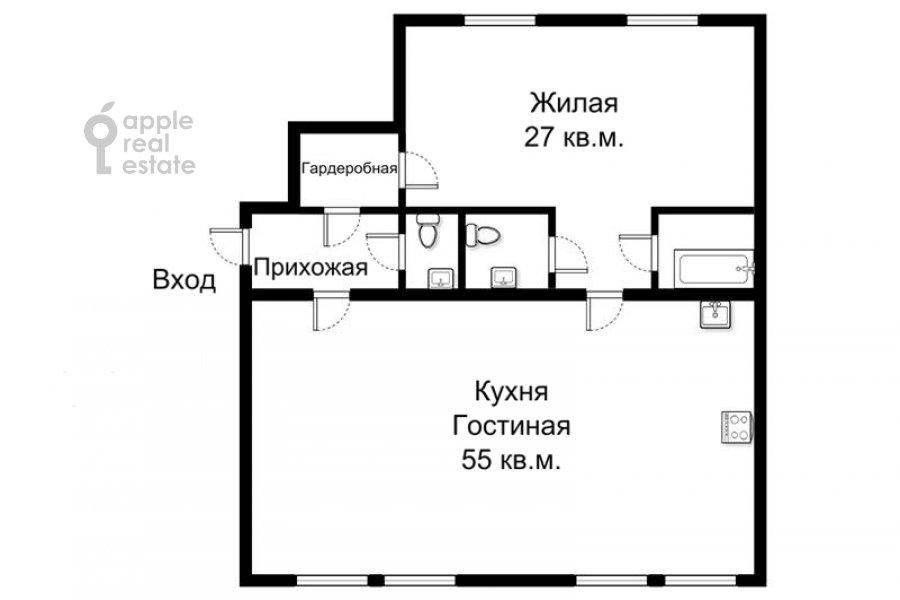 Поэтажный план 2-комнатной квартиры по адресу Брюсов пер. 2/14с2