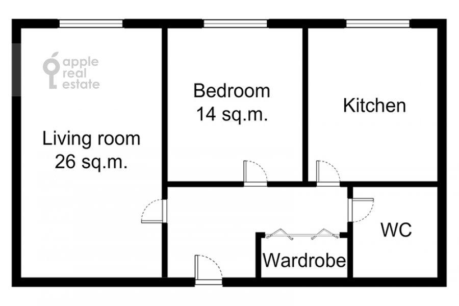 Поэтажный план 2-комнатной квартиры по адресу Леонтьевский пер. 6