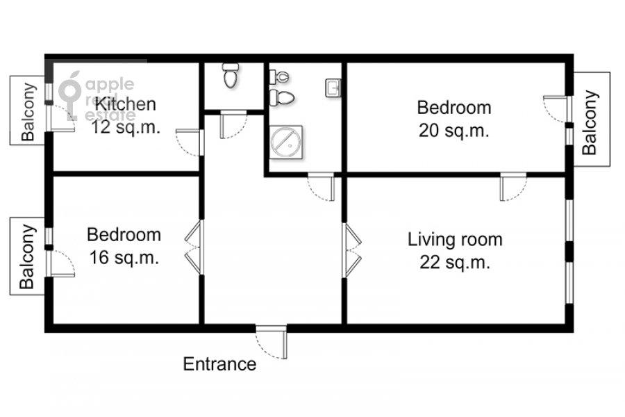 Floor plan of the 3-room apartment at Tverskaya ul. 4