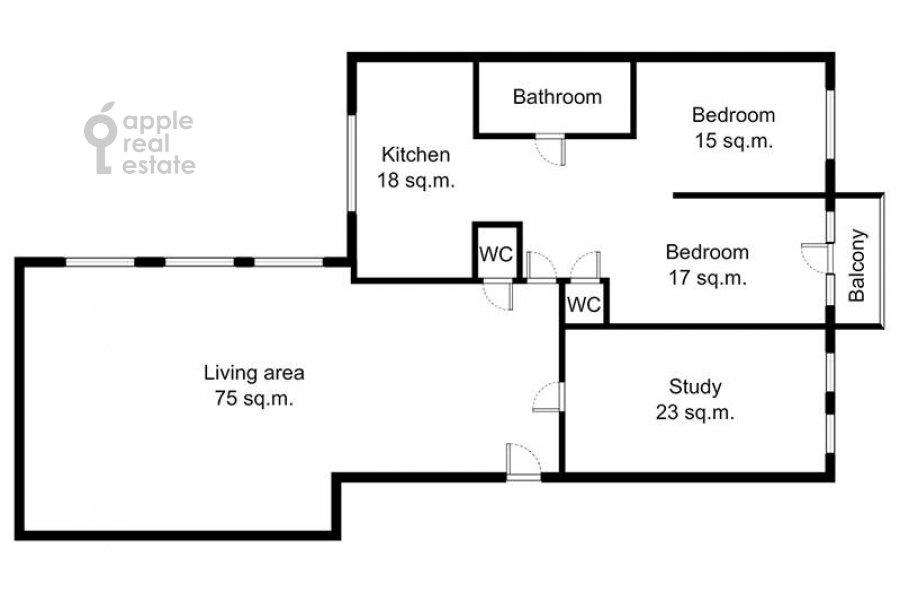 Поэтажный план 4-комнатной квартиры по адресу Кисловский Малый пер. 1