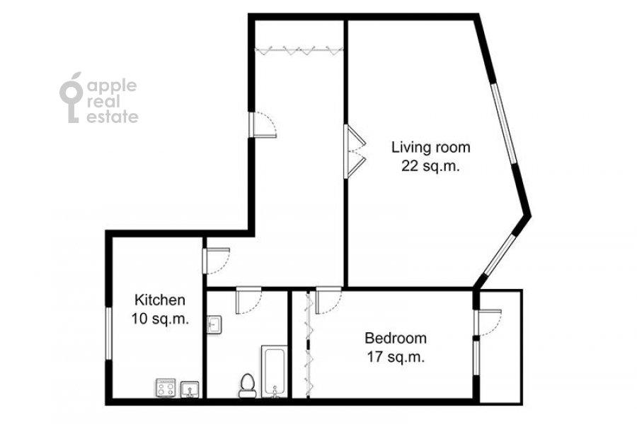 Floor plan of the 2-room apartment at Gagarinskiy per. 6