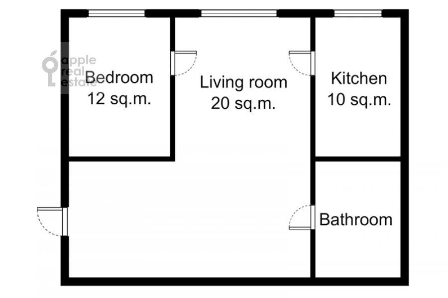 Floor plan of the 2-room apartment at Plotnikov per. 20/21