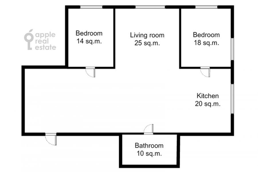Floor plan of the 3-room apartment at Sadovnicheskaya ul. 66