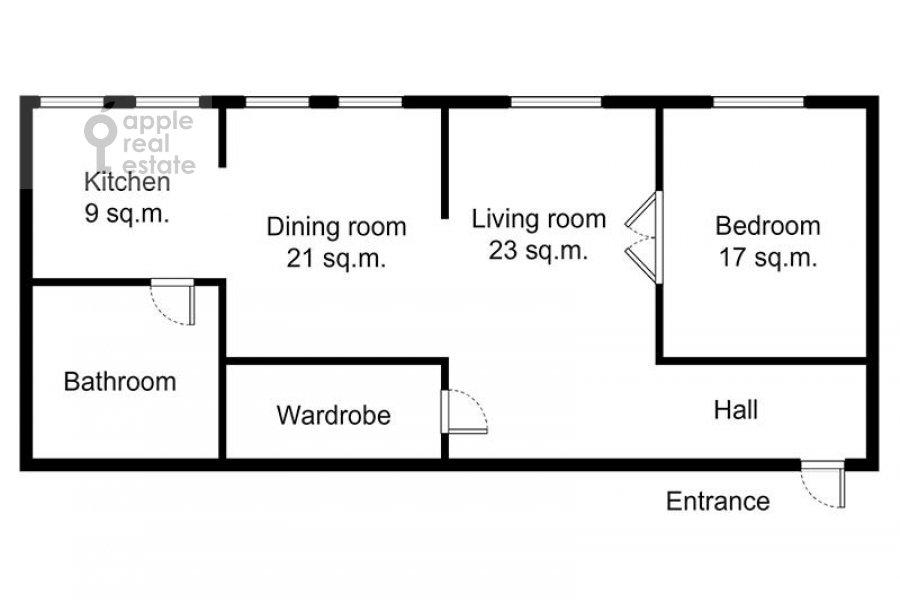 Floor plan of the 3-room apartment at Novinskiy bul'v. 18