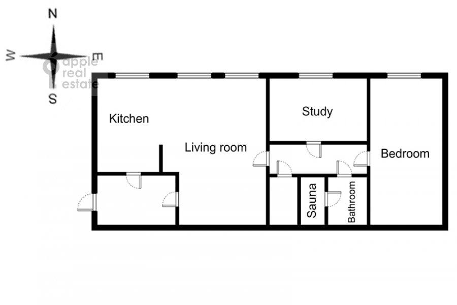 Floor plan of the 3-room apartment at Gogolevskiy bul'var 23