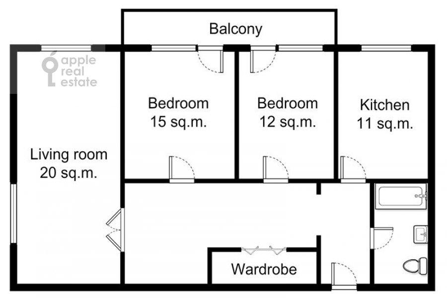 Поэтажный план 3-комнатной квартиры по адресу Ростовская наб. 3