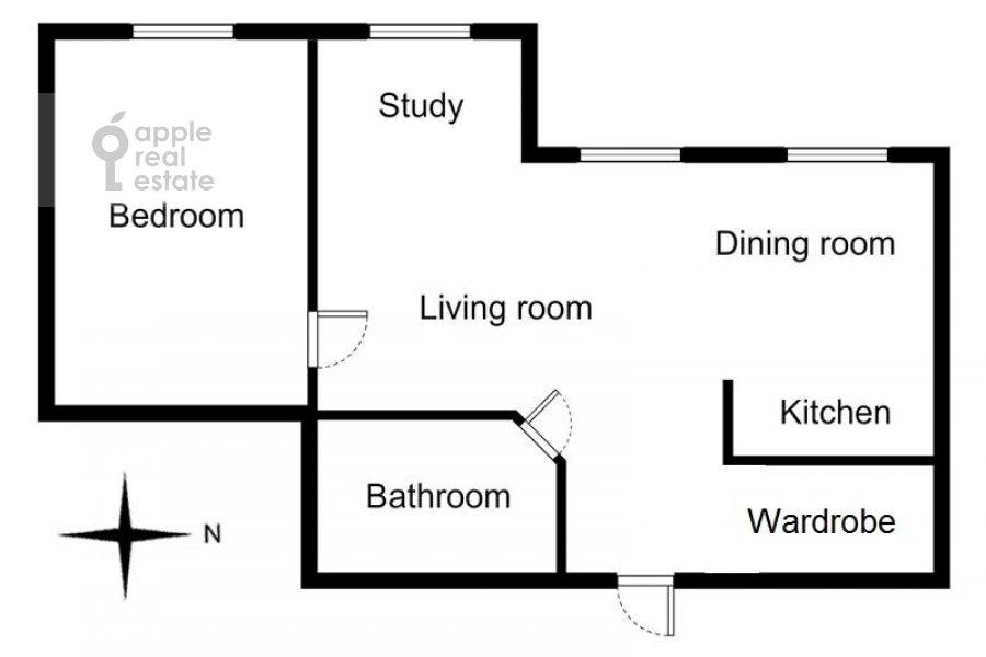 Floor plan of the 2-room apartment at Staromonetnyy pereulok 18