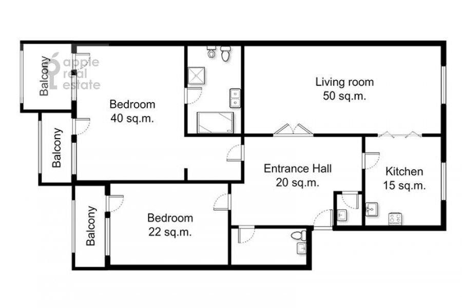 Поэтажный план 3-комнатной квартиры по адресу Лесная ул. 6с1