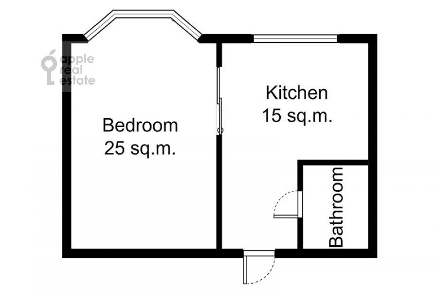 Поэтажный план 1-комнатной квартиры по адресу Кутузовский пр-т. 30/32