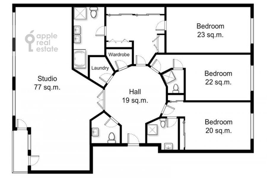 Поэтажный план 4-комнатной квартиры по адресу Коробейников пер. 1
