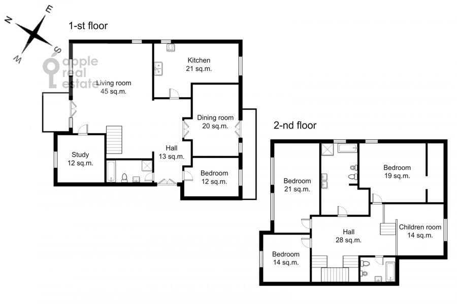 Поэтажный план 6-комнатной квартиры по адресу Обыденский 2-й пер. 11