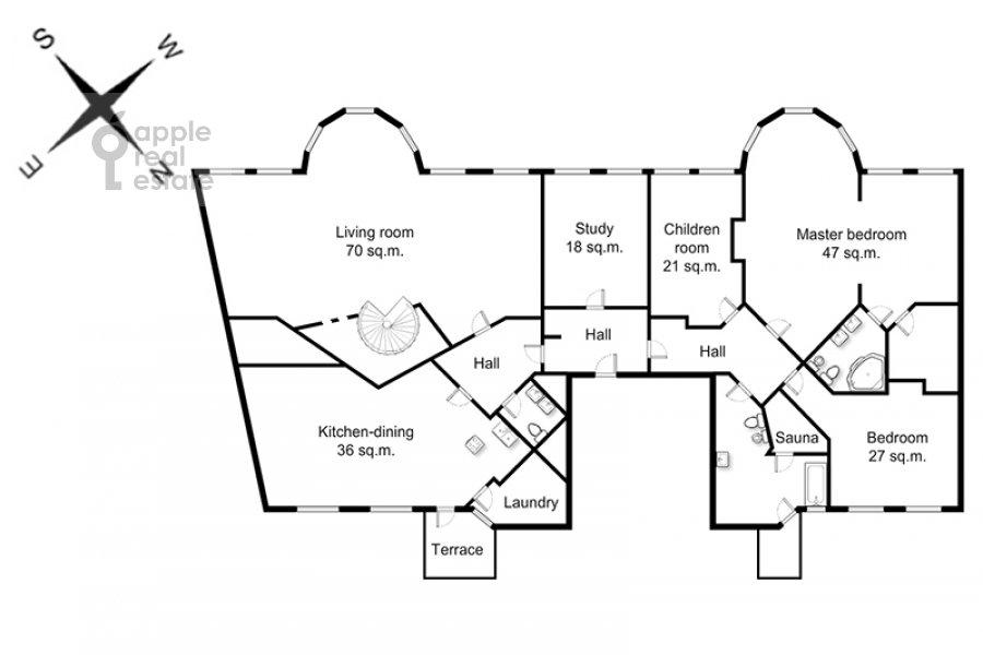 Floor plan of the 5-room apartment at Khariton'evskiy Bol'shoy per. 14
