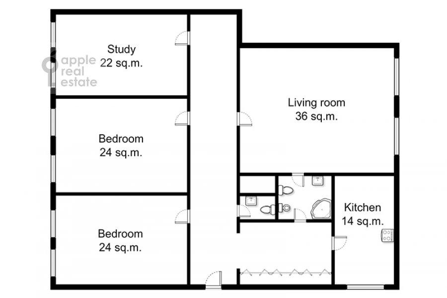 Поэтажный план 4-комнатной квартиры по адресу Петровка ул. 24с3