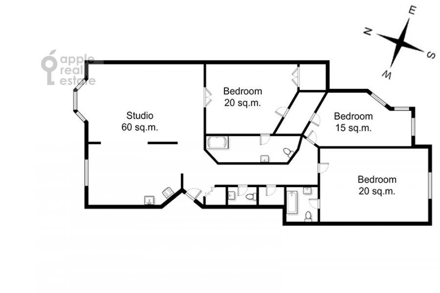 Floor plan of the 4-room apartment at Bronnaya Malaya ul. 25