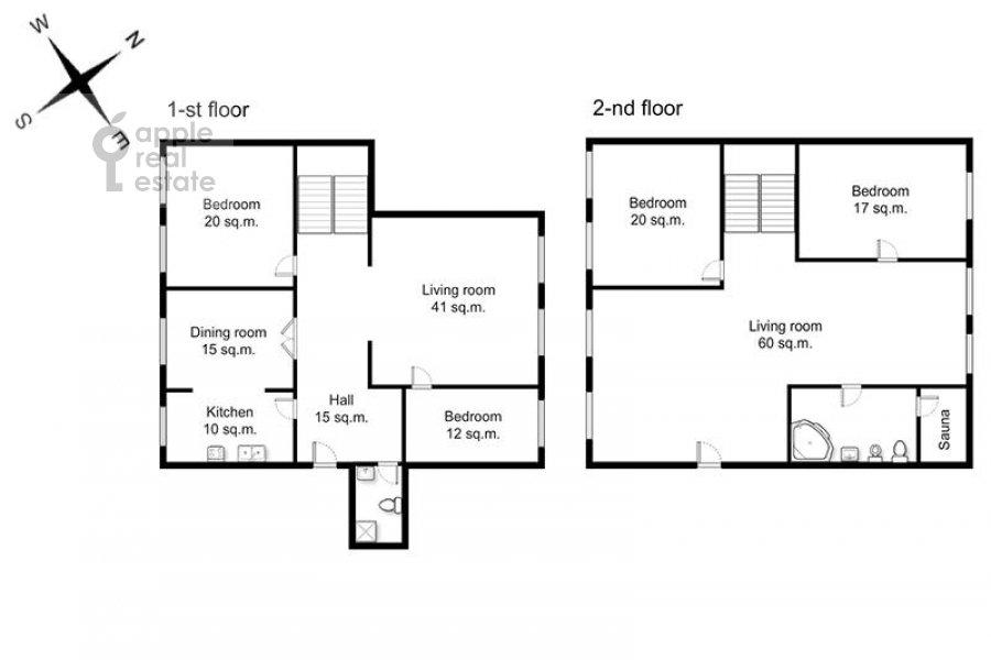 Поэтажный план 6-комнатной квартиры по адресу Молчановка Малая ул. 6