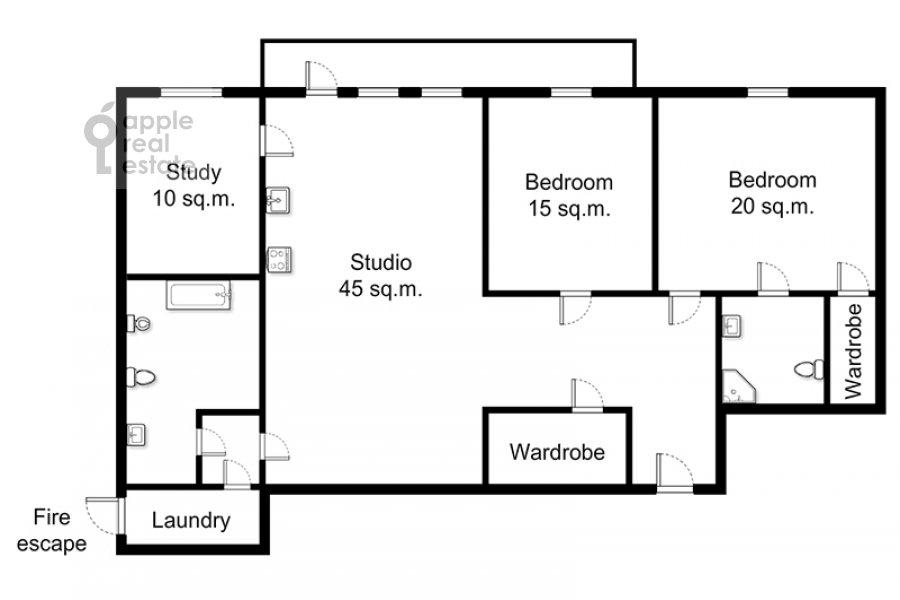 Поэтажный план 4-комнатной квартиры по адресу Новинский бульв. 18