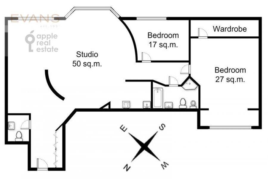 Floor plan of the 3-room apartment at Zoologicheskaya ulitsa 26s2