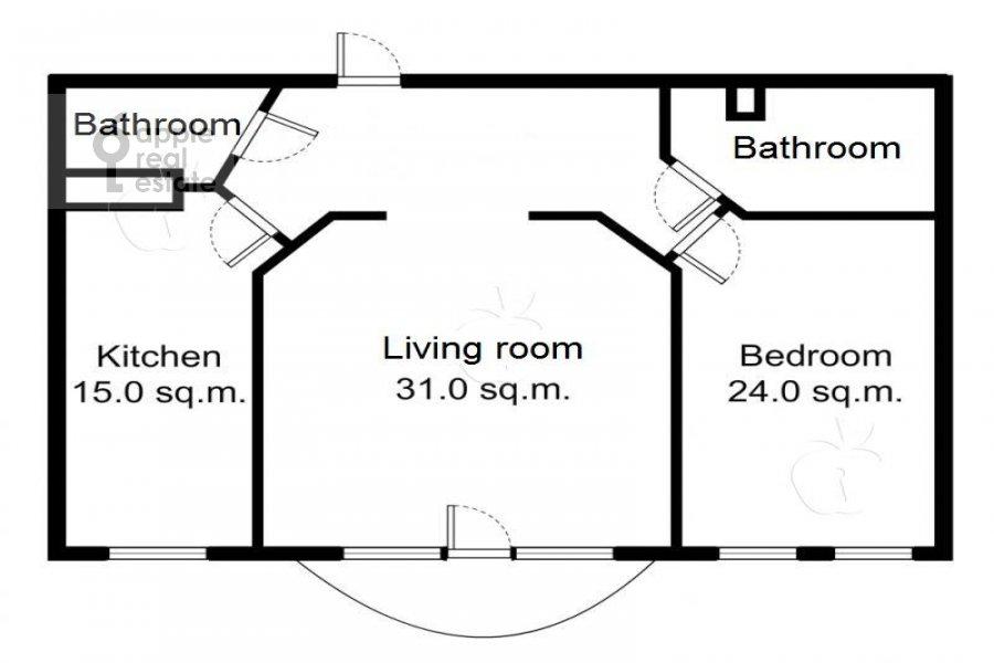 Floor plan of the 2-room apartment at Krivoarbatskiy per. 16/22
