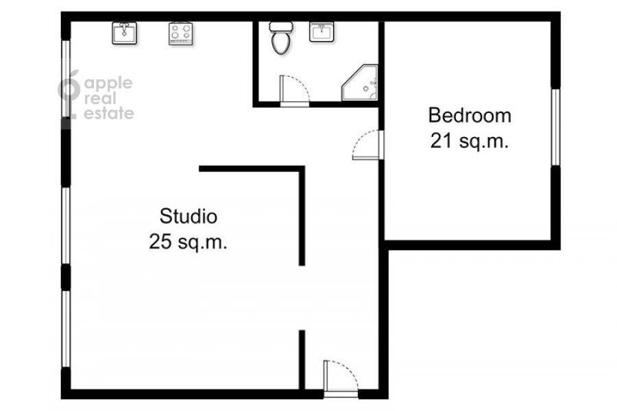 Поэтажный план 2-комнатной квартиры по адресу Воронцово Поле ул. 16с5
