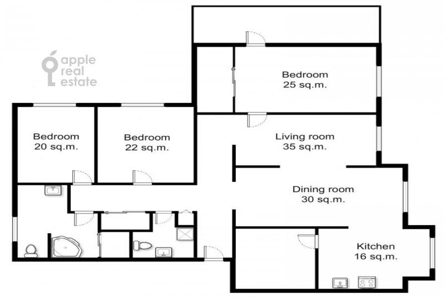 Поэтажный план 5-комнатной квартиры по адресу Сергея Макеева ул. 1