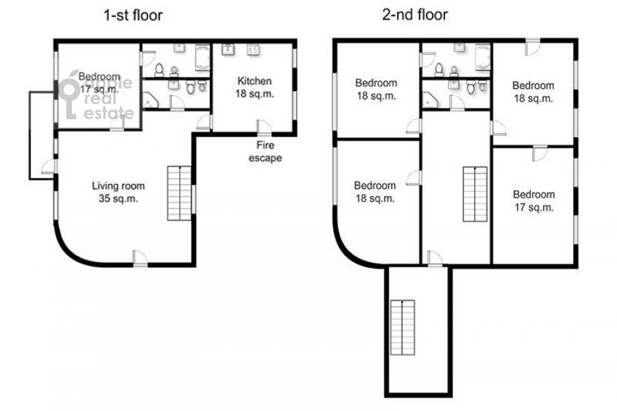 Floor plan of the 6-room apartment at Komsomol'skiy pr-t. 3