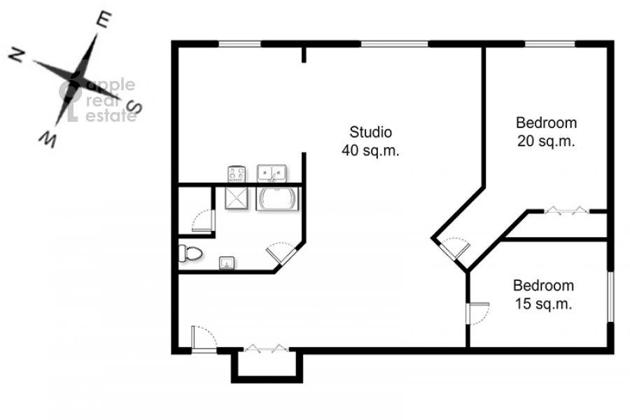 Поэтажный план 3-комнатной квартиры по адресу Арбат ул. 51с1