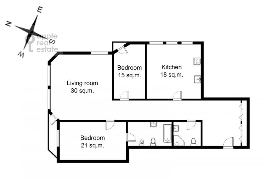 Поэтажный план 3-комнатной квартиры по адресу Николопесковский Малый пер. 4