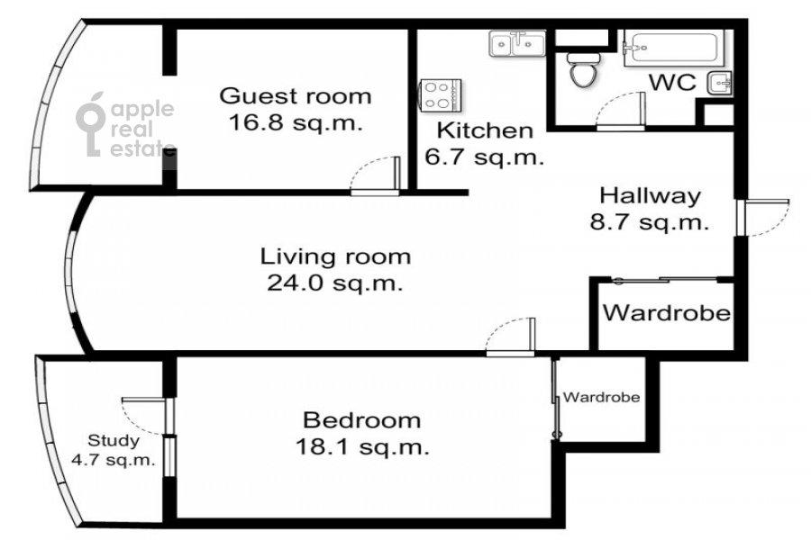 Поэтажный план 3-комнатной квартиры по адресу Масловка Верхняя ул. 28к2