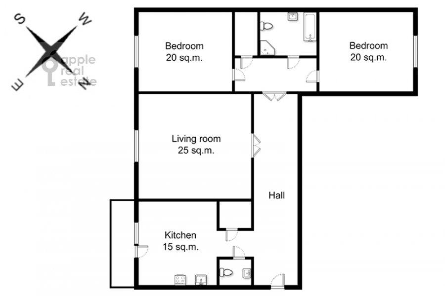 Floor plan of the 3-room apartment at 2-ya Tverskaya-Yamskaya ulitsa 54