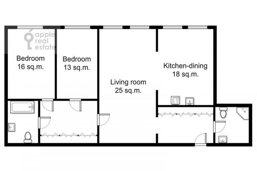 Поэтажный план 3-комнатной квартиры по адресу Милютинский пер. 3