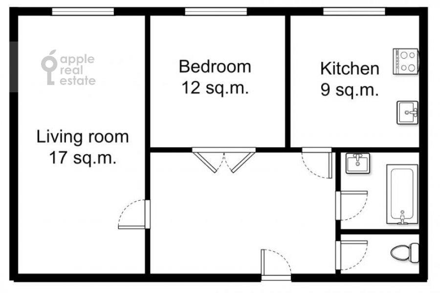 Floor plan of the 2-room apartment at Kudrinskaya pl. 1