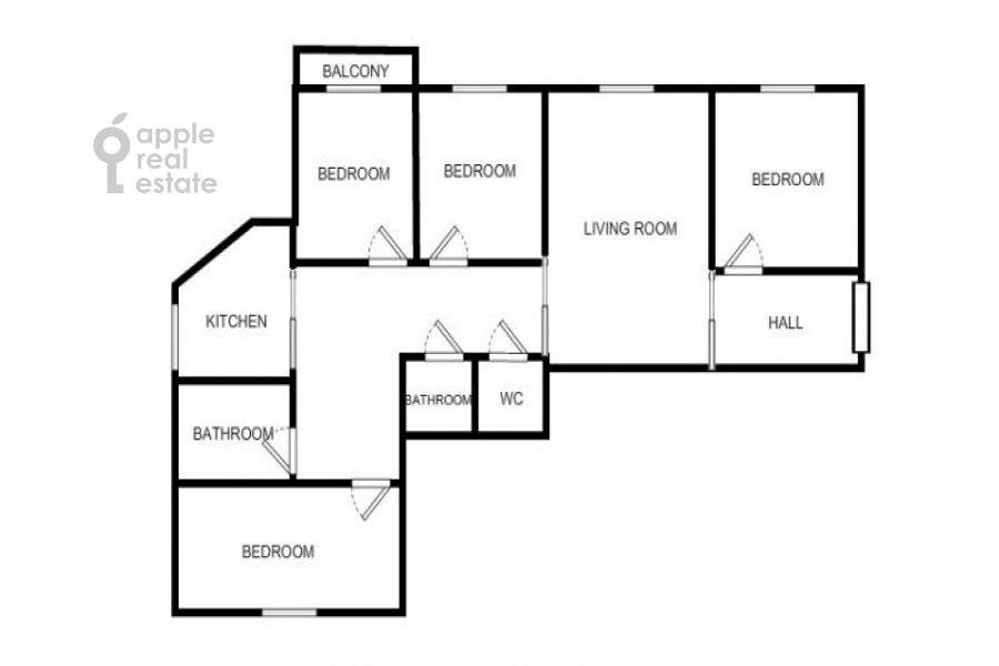 Floor plan of the 5-room apartment at Arbat ul. 29