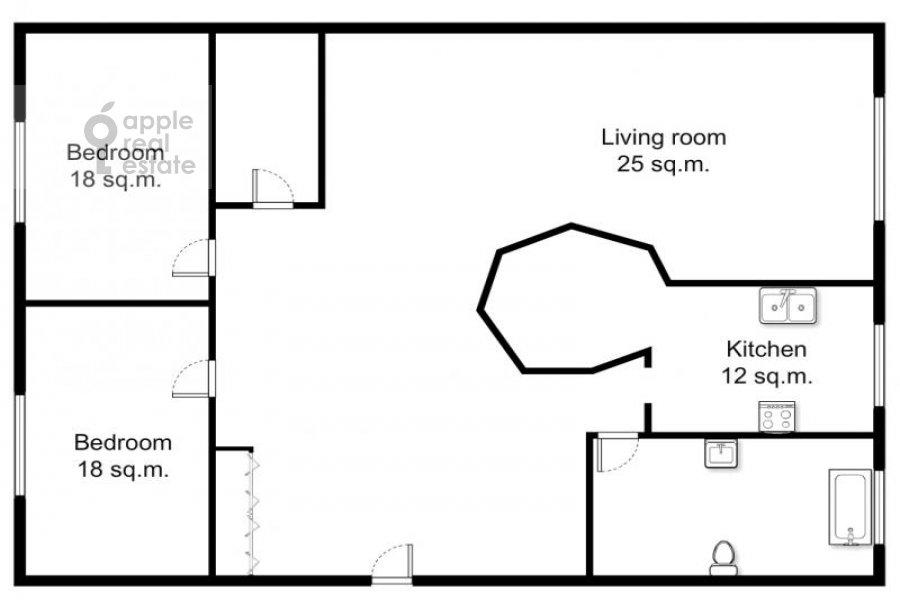 Floor plan of the 3-room apartment at Serafimovicha ul. 2