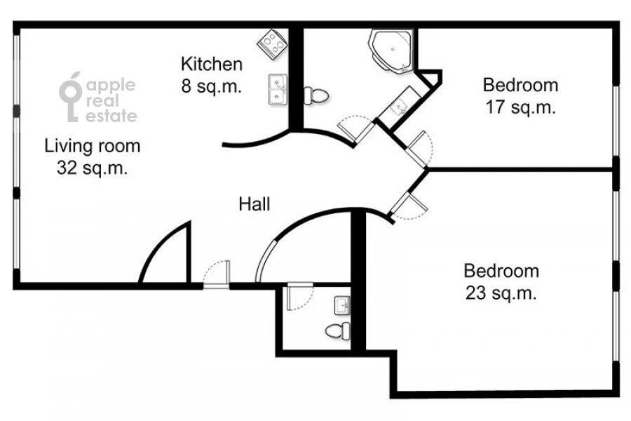 Floor plan of the 3-room apartment at Tolmachevskiy Malyy per. 8