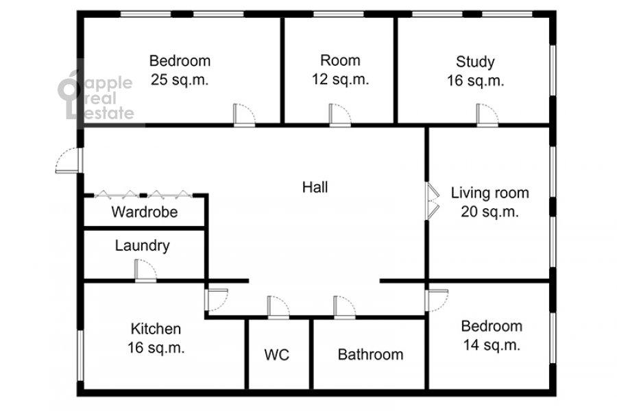 Поэтажный план 5-комнатной квартиры по адресу Беговая ул. 13