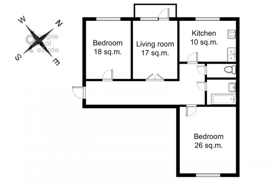 Floor plan of the 3-room apartment at Obolenskiy per. 7