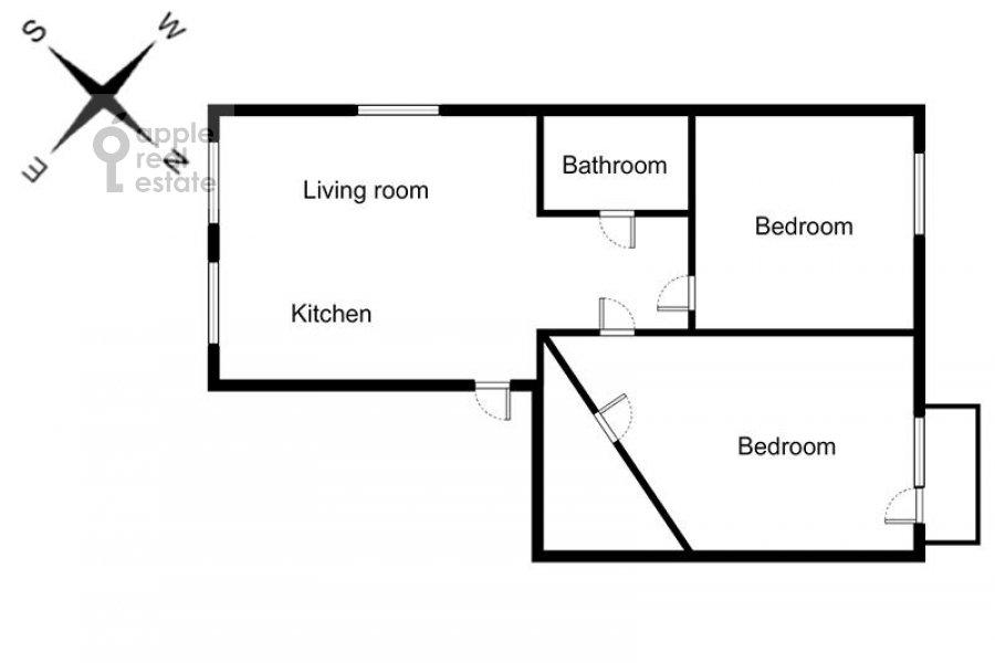 Поэтажный план 3-комнатной квартиры по адресу Большая Бронная улица 7