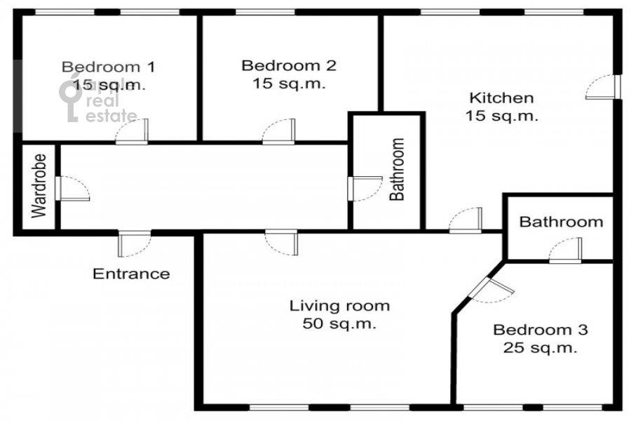 Floor plan of the 4-room apartment at Tverskaya ul. 12s8