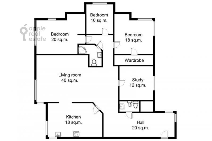 Поэтажный план 5-комнатной квартиры по адресу Авиационная ул. 79к1