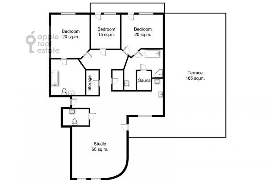 Поэтажный план 4-комнатной квартиры по адресу Береговая улица 8к1