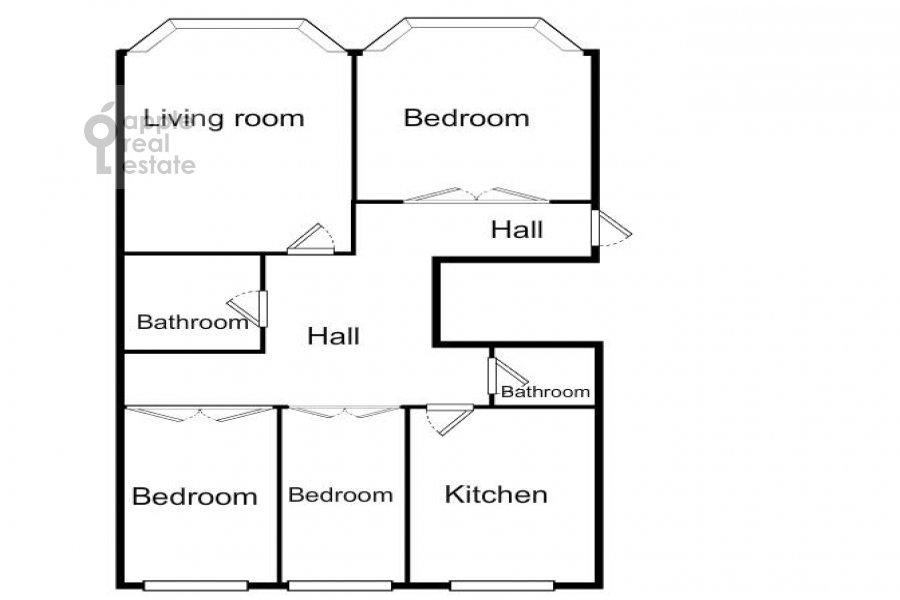 Поэтажный план 4-комнатной квартиры по адресу Тверская ул. 27с2