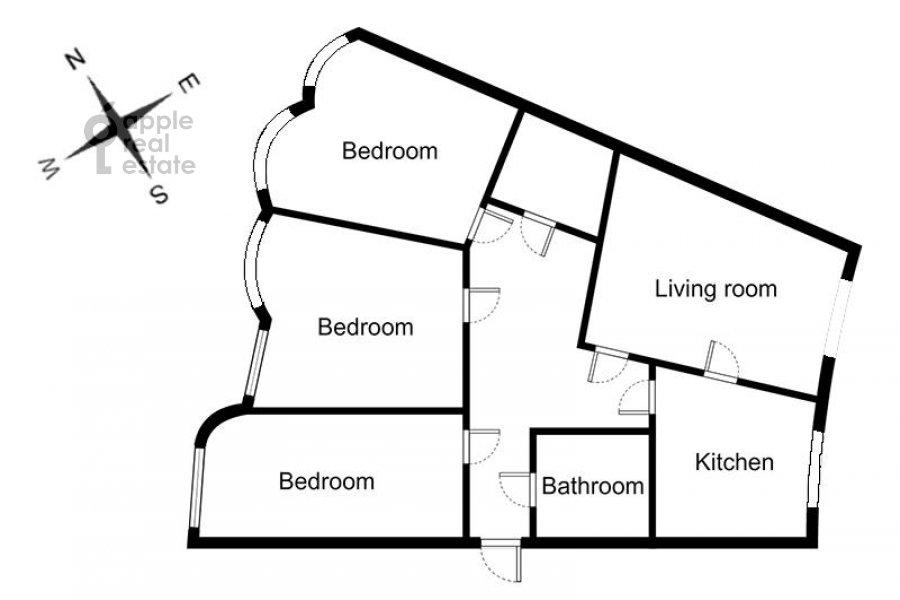 Floor plan of the 4-room apartment at Petrovsko-Razumovskaya alleya 10k2