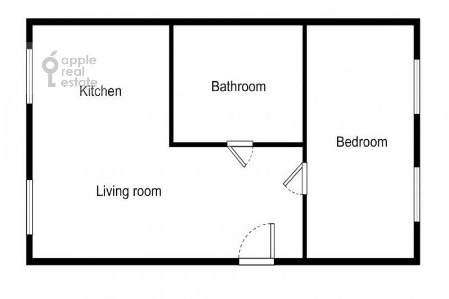 Поэтажный план 2-комнатной квартиры по адресу Бронная Малая ул. 42/14