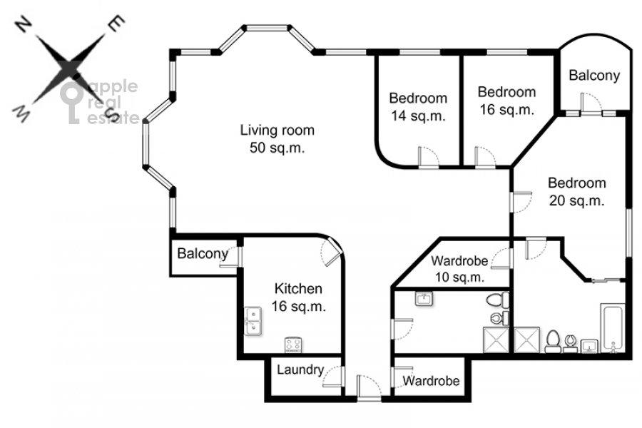 Floor plan of the 4-room apartment at Beregovaya ul. 4k2