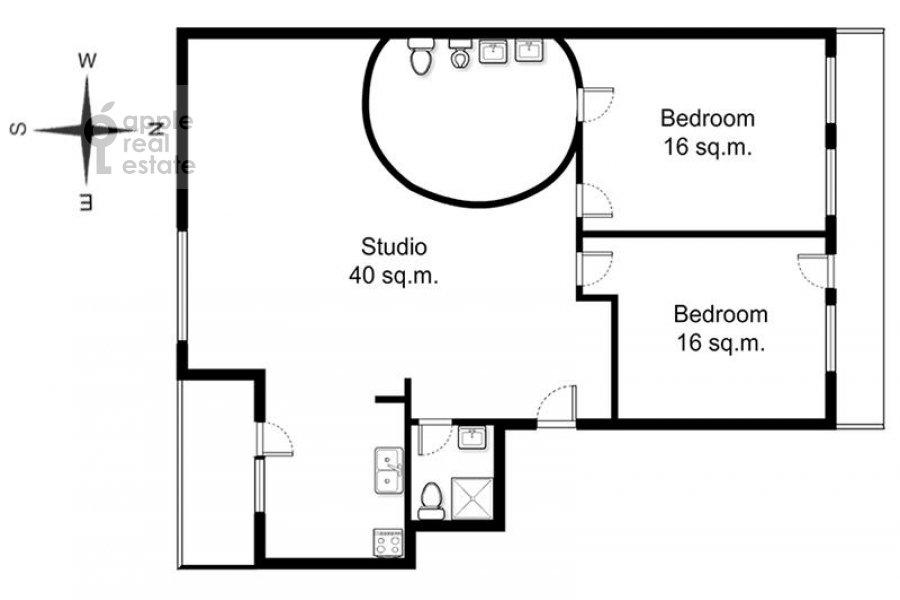 Floor plan of the 3-room apartment at Serpukhovskiy per. 7k1