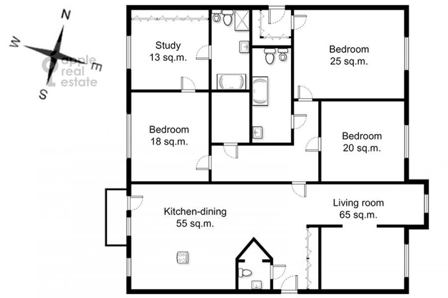 Floor plan of the 4-room apartment at Komsomol'skiy prosp. 32