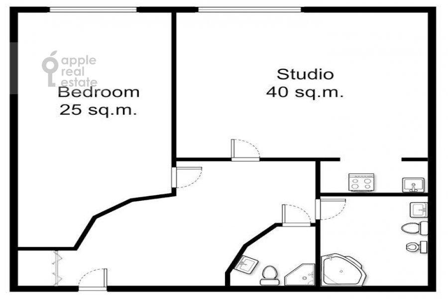 Floor plan of the 2-room apartment at Smolenskiy 1-y per. 17