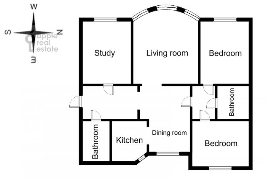 Floor plan of the 4-room apartment at Krivoarbatskiy per. 3
